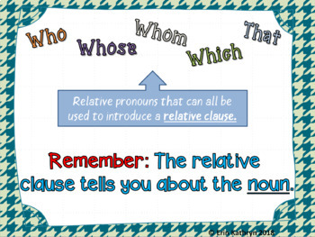 Relative Pronouns PowerPoint and Task Card Bundle