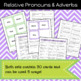 Relative Pronouns & Adverbs Game/Sort Pack