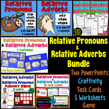 This relative pronouns and relative adverbs includes lesson plans and activities for 5 days!