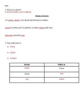 Relative Pronouns & Relative Adverbs Guided Notes