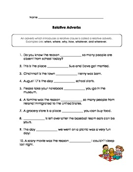 Relative Pronouns & Relative Adverbs Practice by Kathy Ritchie | TpT