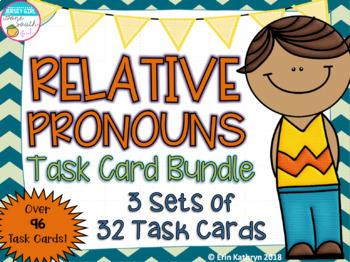 Relative Pronouns Task Card Bundle - 3 Sets of 32 Task Cards - Common Core