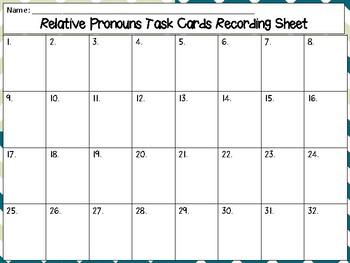 Relative Pronouns Task Cards (32) - Set 1 Common Core