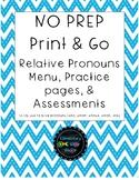 NO PREP Relative Pronouns Print & Go Menu, Practice pages