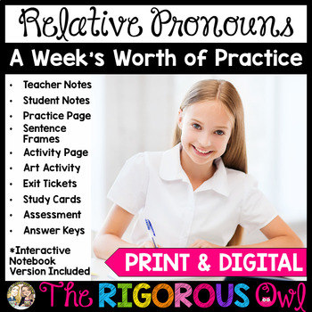 Relative Pronouns Week Long Lessons! Common Core Aligned! L4.1a