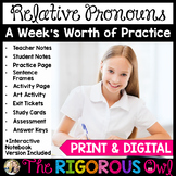Relative Pronouns Week Long Lessons! Common Core Aligned! L4.1a