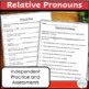 Relative Pronouns: anchor charts, task cards, and worksheets