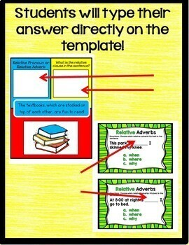 Relative Pronouns and Adverbs Interactive Google Drive Activities L.4.1.A
