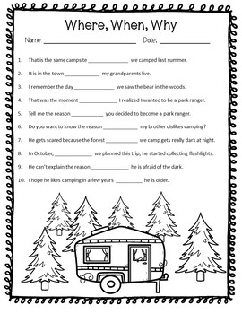 Relative Pronouns and Adverbs Practice Pack- Worksheets, Games, Activities