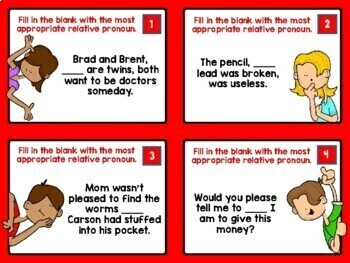 Relative Pronouns and Relative Adverbs:  Task Cards