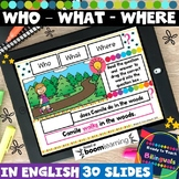 Relative Pronouns in English (Who, What, Where) Boom Cards