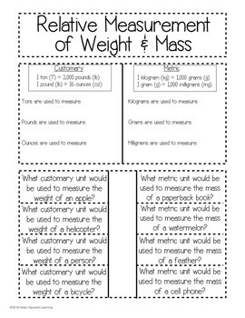 Relative Weight & Mass Measurements Interactive Notebook & Quick Check TEKS 4.8A