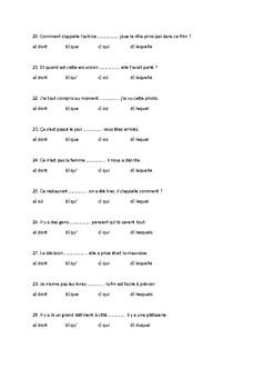 Relative pronouns - French, qcm