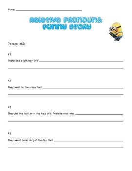 FREEBIE - Relative pronouns - Write a funny story! (pair activity)