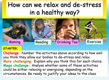 Relaxation Presentation and Worksheets