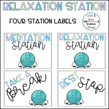 Relaxation / Meditation Station Signs, Emotions Poster, and Strategy Cards