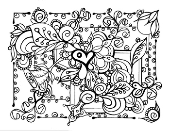 Relaxing Coloring Page. Heart. Spring. Summer. Love. Valentines Day.