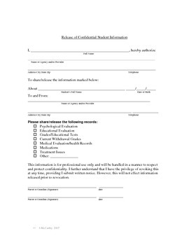 Release of Confidential Student Information