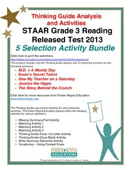 Released 2013 STAAR Analysis and Activities Bundle, Grade 3 Reading