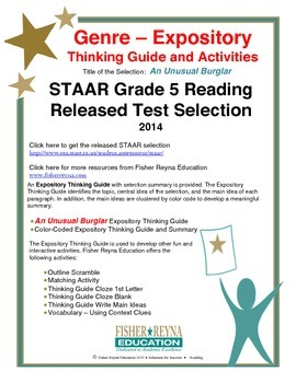 Released 2014 STAAR Analysis and Activities Bundle, Grade 5 Reading
