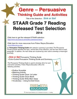 Released 2014 STAAR Analysis and Activities Bundle, Grade 7 Reading
