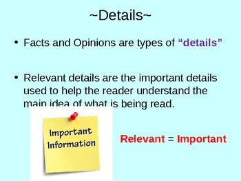 Relevant Details Powerpoint -3rd/4th/5th grade