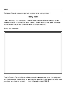 Reliability Character Lesson Plan