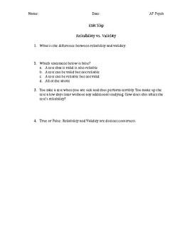 Reliability Validity Exit Slip