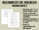 Reliability of Sources worksheet - US/Global/World History
