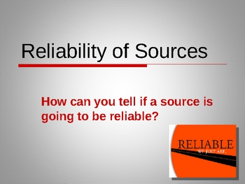 Reliable Sources Powerpoint