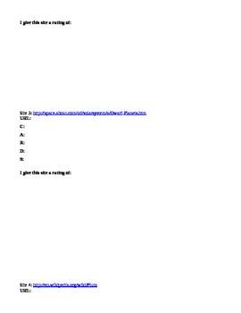 Reliable Website Webquest Worksheet