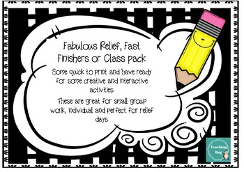 Relief Pack 2 - Variety of activitiy sheets - Fast finishers