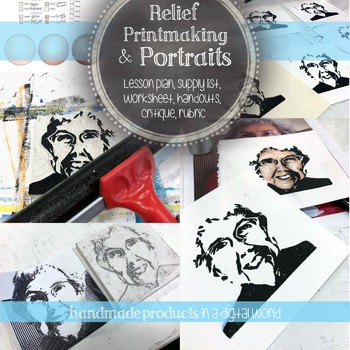 Relief Printmaking Portraits With Colored Pencil Visual Arts Drawing Lesson