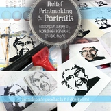 Relief Printmaking & Portraits with Colored Pencil, Visual Arts Drawing Lesson
