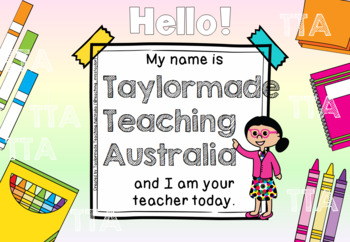 Relief/Substitute Teacher Welcome Sign