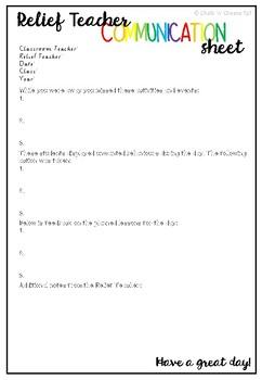 Relief Teacher Communication Sheet
