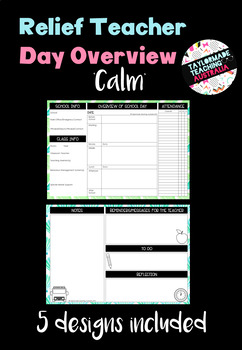 Relief Teacher Day Overview - 'Calm'