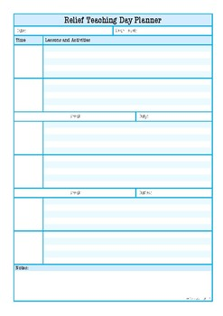 relief teacher day planner by love learning today tpt
