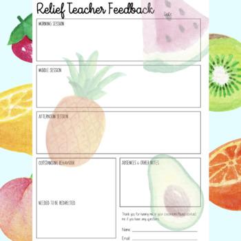 Relief Teacher Feedback Form - Tropical Theme
