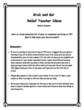 Relief Teacher Ideas!