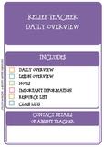 Relief Teacher Overview Planner