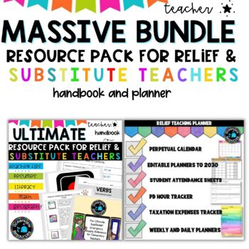 Relief teacher and Substitute Teacher  - Planner and Ultimate Relief Kit
