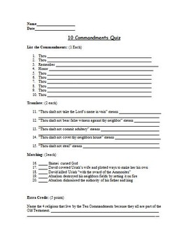 Religion - 10 Commandments Assessment (Quiz)