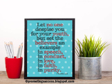 1 Timothy 4:12 Bible Verse Poster, Graduation Gift for Students Religious