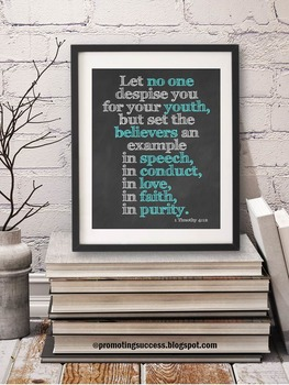1 Timothy 4:12 Bible Scripture Poster, Graduation Gift
