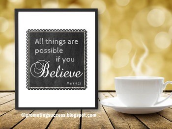 All Things Are Possible Mark 9 Bible Verse Poster, Christian Classroom Decor