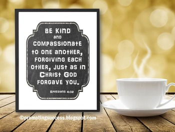 Be Kind Christian Inspirational Bible Verse Quote Poster School Counselor Office