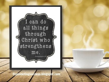 Bible Verse Poster I Can Do All Things Inspirational Quote Christian Classroom