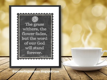 Isaiah 40:8 Bible Verse Poster, Motivational Quote Christian Classroom Decor