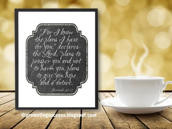 Jeremiah 29:11 Bible Verse Poster, Graduation Gift, Christian Classroom Decor
